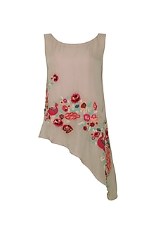 Warm Grey Floral and Peacock Embroidered Asymmetrical Top