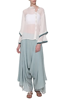 White Embroidered Deconstructed Placket Shirt by POULI