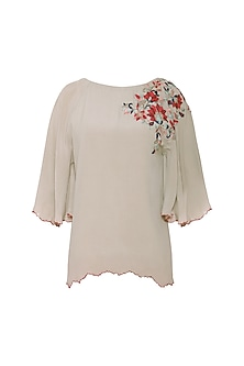 Warm Grey Floral Embroidered Scalloped Top