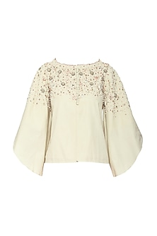 Off White Boxy Flared Embroidered Jacket