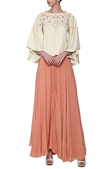 Off White Boxy Flared Embroidered Jacket by POULI