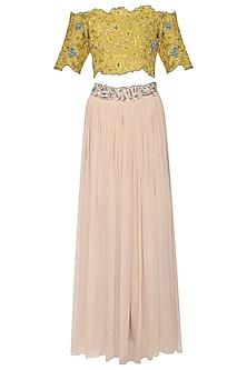 Yellow Embroidered Lehenga Skirt Set