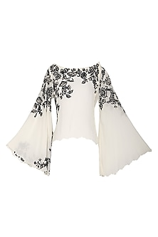 Off White Floral Embroidered Top by POULI