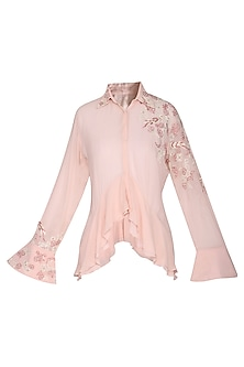Pink Layered Floral Embroidered Shirt by POULI