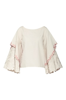 White Embroidered Boxy Double Layered Top