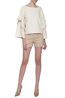 White Embroidered Boxy Double Layered Top by POULI