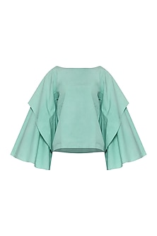 Green Boxy Double Layered Top