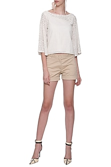 Off White Embroidered Cut Work Top by POULI