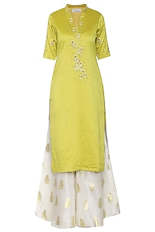 Lime Green Solid Dyed Embroidered Kurta Set