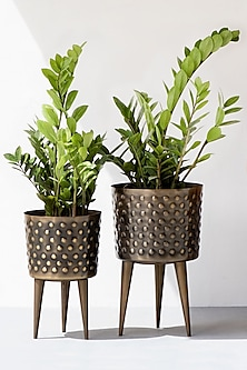 Polka Dot Hammered Planters- Set Of 2 by The Decor Remedy