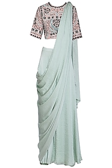 Mint green embroidered drape saree set