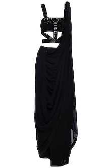 Black embroidered drape saree set