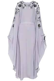 Pearl grey floral embroidered kaftan