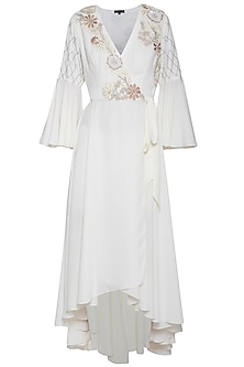 Off white embroidered angrakha dress