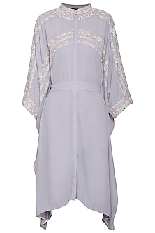 Pearl grey embroidered kaftan shirt