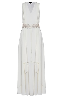 Off white embroidered jacket dress
