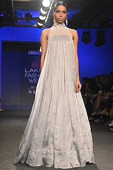 Grey Embroidered Trapeze Gown by Pink Peacock Couture