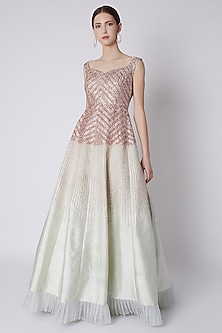 Mint Green Embroidered Gown by Pink Peacock Couture