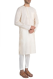Off White Kurta With Pants by Pink Peacock Couture Men