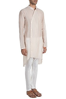 Ivory High-Low Kurta With Pants by Pink Peacock Couture Men