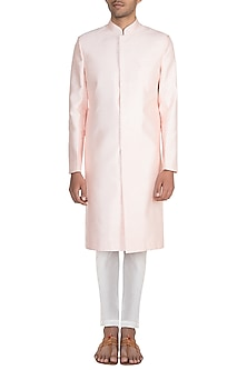 Peach Long Sherwani Jacket With Pants by Pink Peacock Couture Men