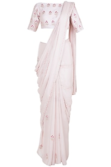 Pink Embroidered Half & Half Saree Set by Pink Peacock Couture