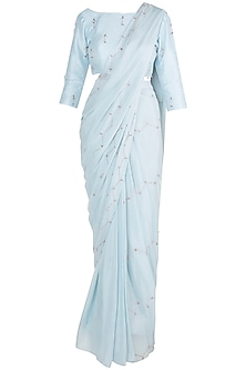 Powder Blue Embroidered Saree Set by Pink Peacock Couture