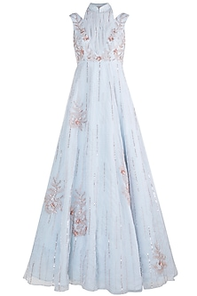Powder Blue Embroidered Gown by Pink Peacock Couture