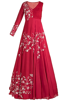 Red Embroidered Jacket Style Anarkali Gown by Pink Peacock Couture