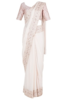 Cream Embroidered Saree Set by Pink Peacock Couture