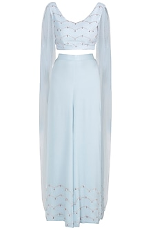 Powder Blue Embroidered Crop top With Palazzo Pants by Pink Peacock Couture