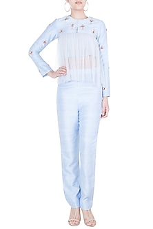 Blue Embroidered Jacket With Pants & Inner by Pink Peacock Couture