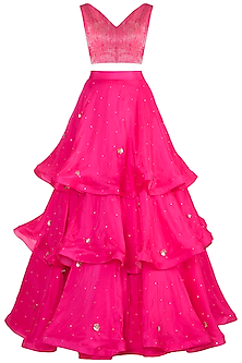 Hot Pink Embroidered Crop Top & Layered Lehenga Skirt by Pink Peacock Couture