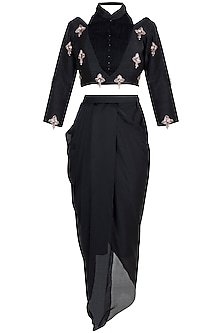 Black Embroidered Ruched Crop Top With Dhoti Pants by Pink Peacock Couture