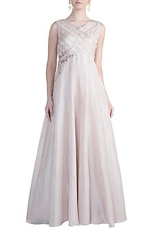Nude Embroidered Anarkali Gown by Pink Peacock Couture