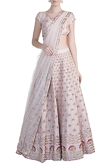 Peach Pink Embroidered Lehenga Set by Pink Peacock Couture