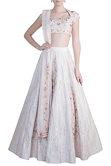 Cream Embroidered Lehenga Set by Pink Peacock Couture