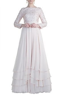 Cream Embroidered Gown by Pink Peacock Couture