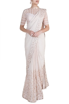 Nude Embroidered Saree Set by Pink Peacock Couture