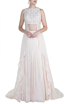 Cream Embroidered Pleated Lehenga Set by Pink Peacock Couture