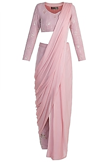 Pink Embroidered Suede Pant Saree Set by Pink Peacock Couture