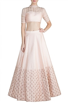 Peach & Pink Embroidered Crop Top With Skirt by Pink Peacock Couture