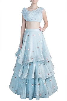 Powder Blue Embroidered Tiered Lehenga Set by Pink Peacock Couture