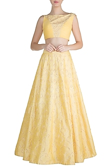 Yellow Tassel Embroidered Lehenga Set by Pink Peacock Couture