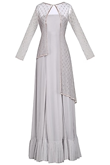 Grey Embroidered Anarkali Gown with Cape