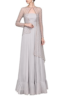 Grey Embroidered Anarkali Gown with Cape by Pink Peacock Couture