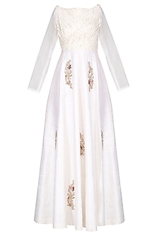 White Embroidered Anarkali Gown