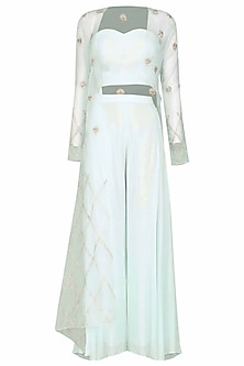 Light Blue Embroidered Cape with Bustier and Palazzo Pants