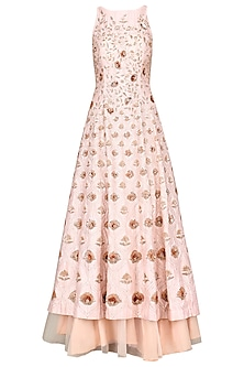 Pink Embroidered Anarkali with Skirt