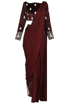 Wine Embroidered Blouse with Pant Saree